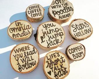Gilmore Girls Magnet Set | Stars Hollow | Handwritten | Hand Lettered | Wood Burned | Rustic Wood Slice Magnets