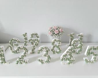 wedding table numbers, floral table numbers, rose table numbers, vintage style wedding decor, ten table numbers, 10 table numbers