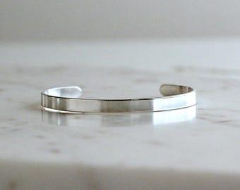 Silver Cuff, Thin Silver Cuff, Simple, Minimalist Bracelet, Silver Bracelet