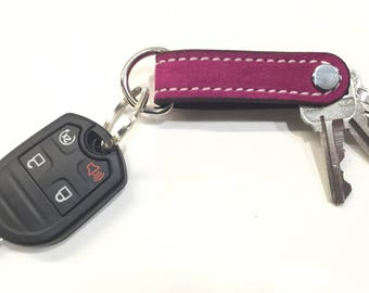 Hot Pink Keychain, Leather Keychain, Suede Keychain, Key Holder, Bridesmaid Gift, Birthday Gift, Pink Keychain, Fuchsia Keychain, Key Fob