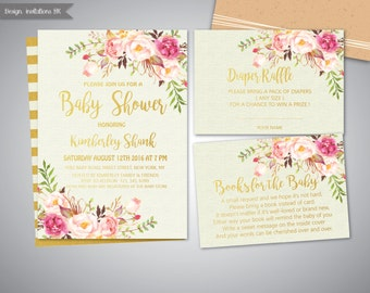 Baby Shower Invitation Girl, Baby Shower Invitation Printable ,Gold Baby Shower Invitation, baby shower invite,Girl and boy baby shower set