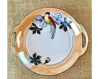 Noritake Japanese China Bowl, Bird Design Parrot, Handpainted Bowl Lusterware Trim, Art Deco Handpainted Bowl, Vintage Bird Bowl
