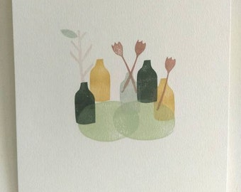 Limited edition A4 mini print 'Vases' hand printed, still life, botanical, minimalist, modern decor, scandi, wall art, nature, botanical