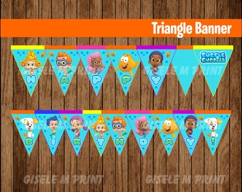 Bubble Guppies Banner, Printable Bubble Guppies Triangle Banner, Bubble Guppies party Banner instant download