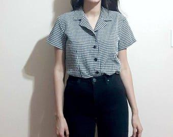 Vintage tie-front blouse size US 6 small medium, gingham blouse top, button down blouse shirt, short sleeve blouse