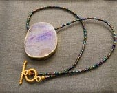 Amethyst Necklace Beaded necklace Amethyst pendant Amethyst Jewellery Gemstone Jewellery gift for her natural stone