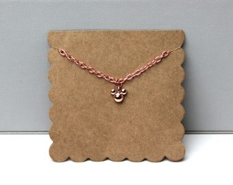 Rose Gold Mouse Necklace // dainty rose gold necklace // with gift packaging