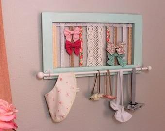 Baby Bow Holder Girls Bow Holder Headband Holder Headband Organizer Girls Nursery Organizer Girls Baby shower gift Mint bow holder