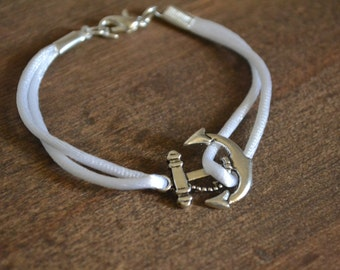 Bracelet in satin with anchor rope marine metal