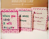 Pack of 3 Gilmore Girls Inspired Cards - Handmade - Where you lead I will follow - I smell snow - Because I love you, you idiot - Lorelai