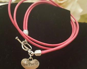 HEN PARTY leather charm bracelet