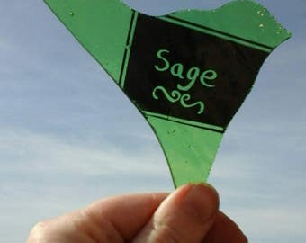 Plant and herb markers, made to order, birds. Handmade and painted, suitable for use in kitchen, garden or conservatory