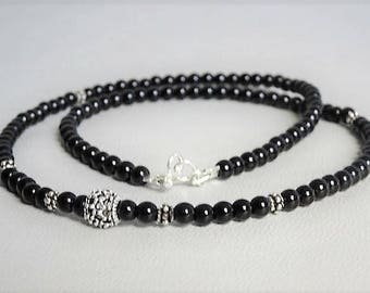 Mens beaded necklace or onyx, sterling silver beads and clasp-man jewelry-gemstone necklace