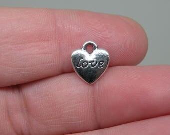 """12 Silver Tone """"Love"""" Heart Charms. B-017"""
