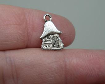 8 Fairy or Pixie House Silver Tone Charms. B-009