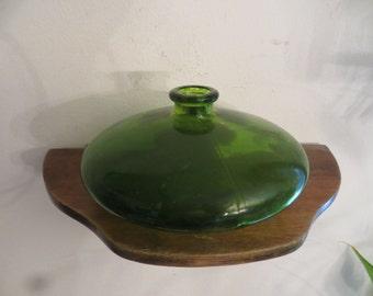 Green Glass Vase Vintage Low & Wide w/ free ship