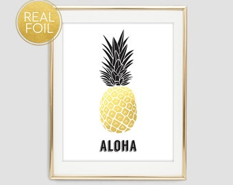 Gold Foil Pineapple Wall Print, Gold Foil Pineapple Poster, Modern Wall Print, Pineapple Print, Gold Wall Decor, Aloha Print, F2