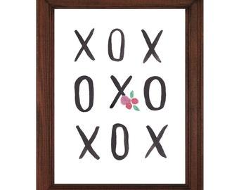 XO Love Printable | Hugs and Kisses Watercolor Printable | Wall Art  | Digital Download | XOXO | Hugs and Kisses | Watercolor
