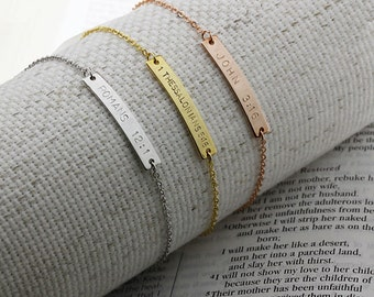 Same Day Shipping Til 3 p.m EST,Bible Verse Bar Bracelet-Engraved jewelry,Personalized jewelry,Faith jewelry,silver,custom,baptism,Christmas