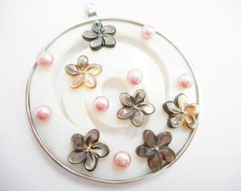 Mother Of Pearl, Sterling Pendant, Flower Pendant, Silver Pendant, Large Genuine Sterling Silver Mother Of Pearl Flower Pendant #1835