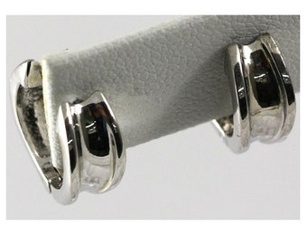 Rhodium Plated Sterling Silver Huggie Earring #OZE-11