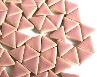 Triangle Ceramic Mosaic Tiles - Dusty Pink - 50g