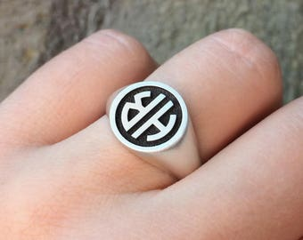 Custom Signet Ring in Sterling Silver Metal, Monogram Signet Ring, Personalized Signet Ring, Personalized Engraved Initial Ring, Man Ring