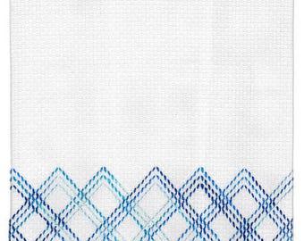 Blue Diamonds Towel (Swedish/huck weaving)
