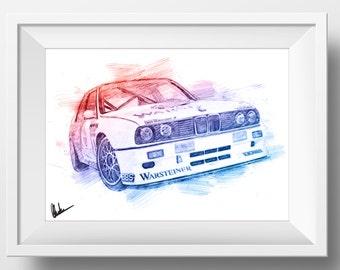 BMW M3 Roberto Ravaglia Car Poster Sketch Garage Gift idea for men