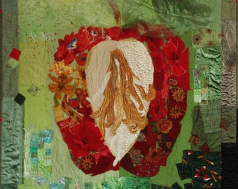 Art Quilt, Eva in Paradise, beaty and love quilt, girl, Red apple,Textile Wallhanging, Fiber Picture, Interior Design, Quilt Art, Wall Decor