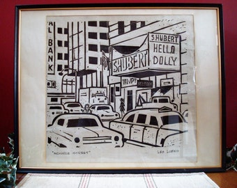 "Vintage Original Artwork Linocut Block Print on Paper, ""Monroe Street"" by Chicago Artist Les Lubko, ca. 1966"