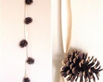 Pine Cones Garland Handmade / Natural Pine Cones Garland / Handmade Pinecones Garland/ Rustic Wedding Garland/ Mantel Decor/ Fireplace Decor