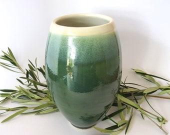 Beautiful Green and White Ceramic Vase