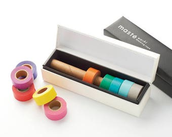 Ivory Washi tape set - Maste Storage box with 8 Colorful Washi Tape rolls, Masking tape dispenser, Gift for Mother's day