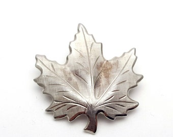 Modern Silver tone Metal Maple Leaf Brooch Vintage from the 90s Emblem Symbol Tree Runway Statement Jewelry Fall Leafy Leaves falling