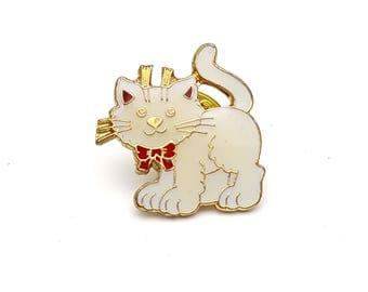 White Cat Gold Tone Metal with Enamel Paint Lapel Pin Vintage Kitten Cat Lady gift for her Kitty Brooch