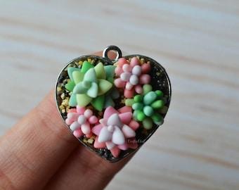 Succulent Garden Polymer Clay Charm/Pendant