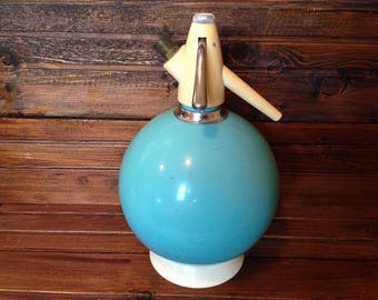Soviet siphon bottle / Vintage Sparklets Seltzer / Turquoise soda bottle, blue seltzer bottle / Soda siphon