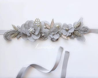 Silver Gray Lace Beaded Flower Bridal Sash,Grey Flower Sash,Beaded Pearl Sash,Pink Melon Gray Sash, Bridal Silver Sash, Couture Beaded Sash