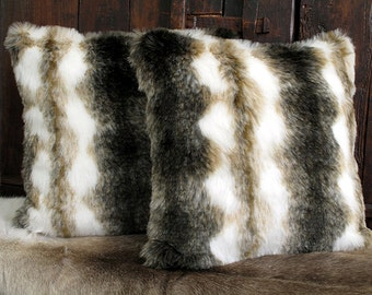 Italian Wolf striped luxury faux fur cushion covers, cushions, pillow covers in choice of 2 sizes. Matching throws available.