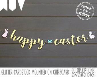 Easter banner, bunny sign, spring banner, Easter decorations, gold glitter party decorations, cursive banner, SPR001