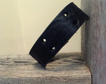Skinny Black Leather Cuff Bracelet with Accent Holes