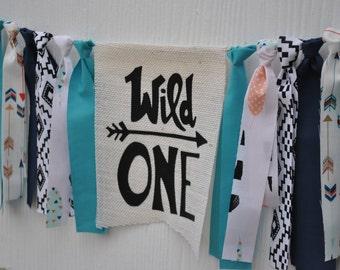 WILD ONE Birthday banner, Tribal 1st birthday highchair garland, boy 1st birthday banner, boy first birthday photo prop