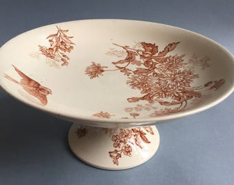 1891 French LONGWY cake stand, plate stand, botanical print, bird print, transferware, antique tableware, compotier, brown pottery