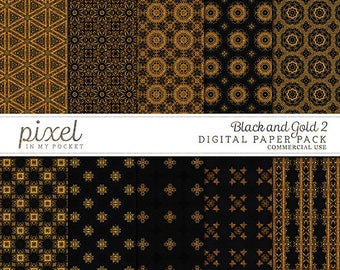 Black Gold Shimmer Accent Digital Scrapbook Paper Pack [Pack 2] Instant Download