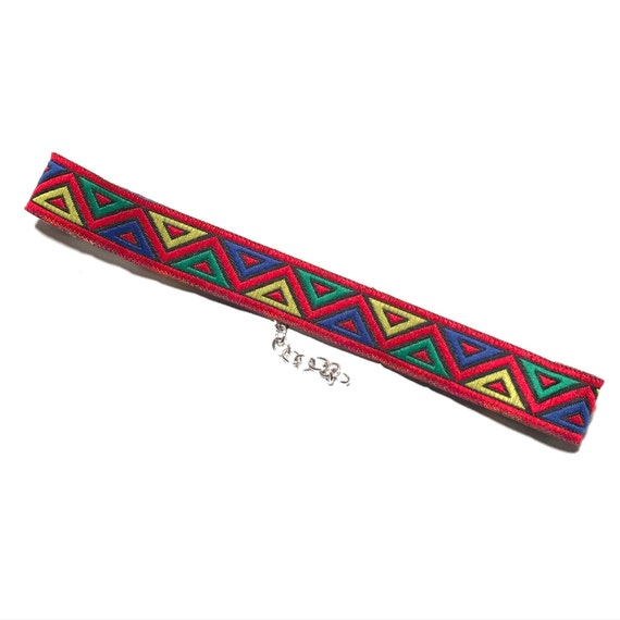 Retro Pattern Choker | Red | Blue | Yellow | Green | Geometric |  90s Inspired choker | RETRO RED