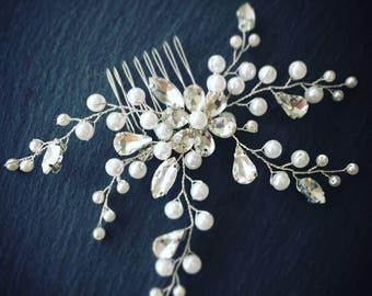 Pearl and Crystal Bridal Hair Comb Beaded Wedding Hair Comb Pearl Hair Comb