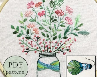 plus_ Bonus Free Pattern_Pink Gypsophila In The Bottle __PDF files_+Reversed Pattern_instant download files_Hand Embroidery Pattern