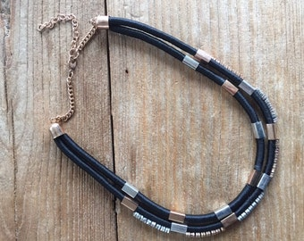 Gold and Silver Tone Rope Statement Necklace