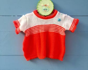 Vintage 1960s Baby Girl Summer Sweater, Retro Baby Girl Sweater, Size 3 to 6 months